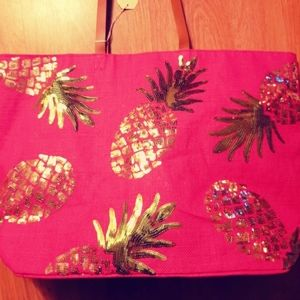 Mud Pie Bags - NWT MUDPIE SEQUIN PINEAPPLE TOTE